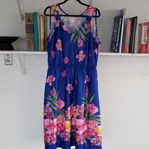 Vintage Floral Sleeveless Dress 1X